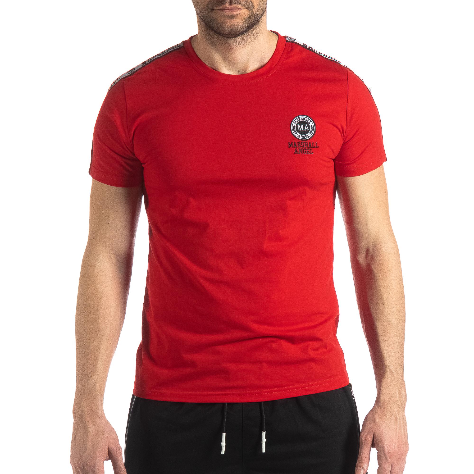64e3b5111b9a Ανδρική κόκκινη κοντομάνικη μπλούζα με λογότυπο