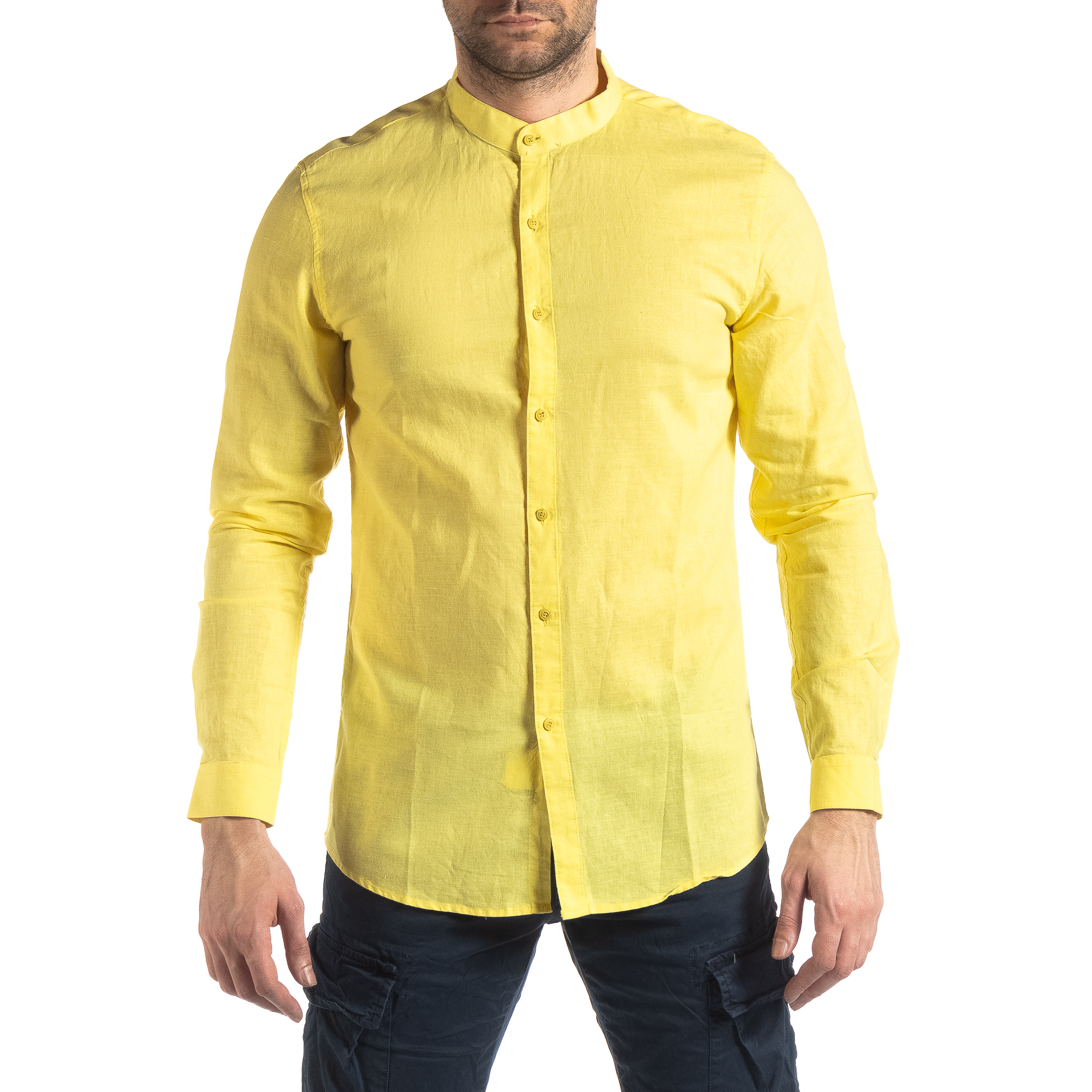 4c738d888765 Ανδρικό κίτρινο πουκάμισο από λινό και βαμβάκι