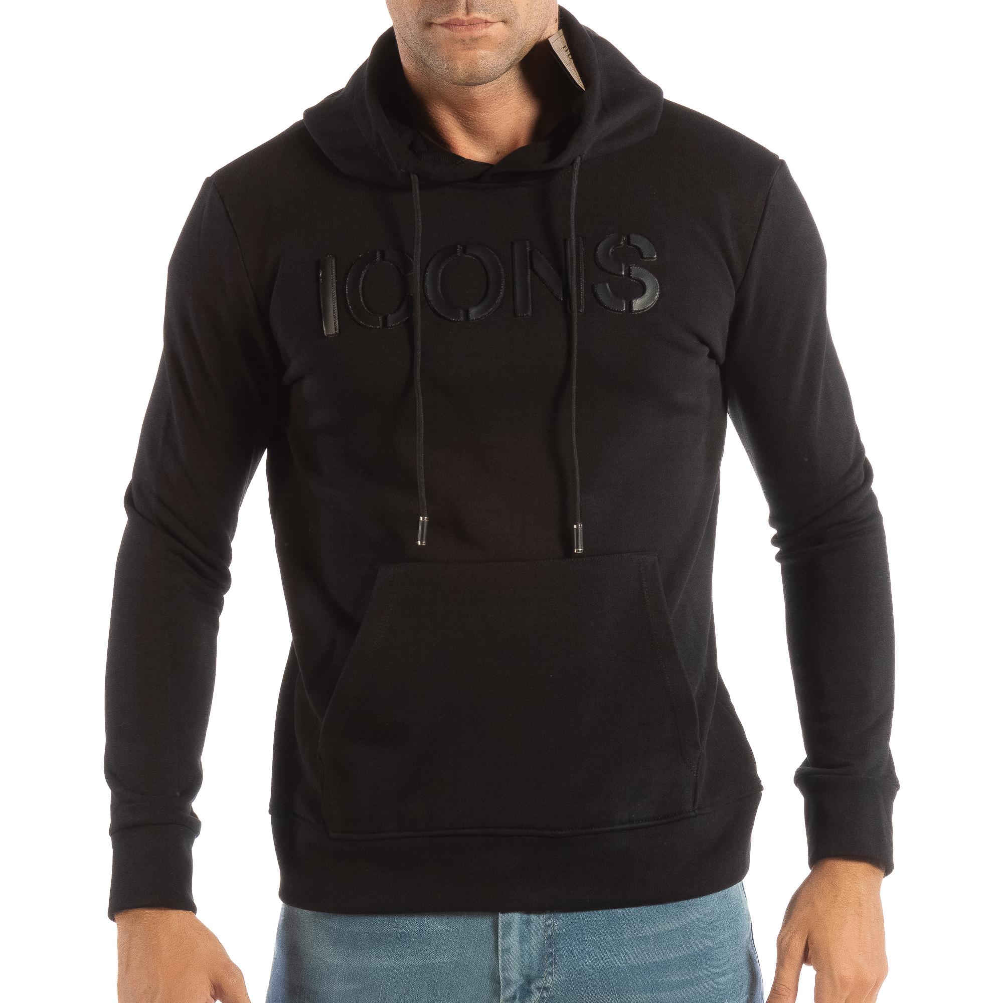 Ανδρικό μαύρο φούτερ ICONS
