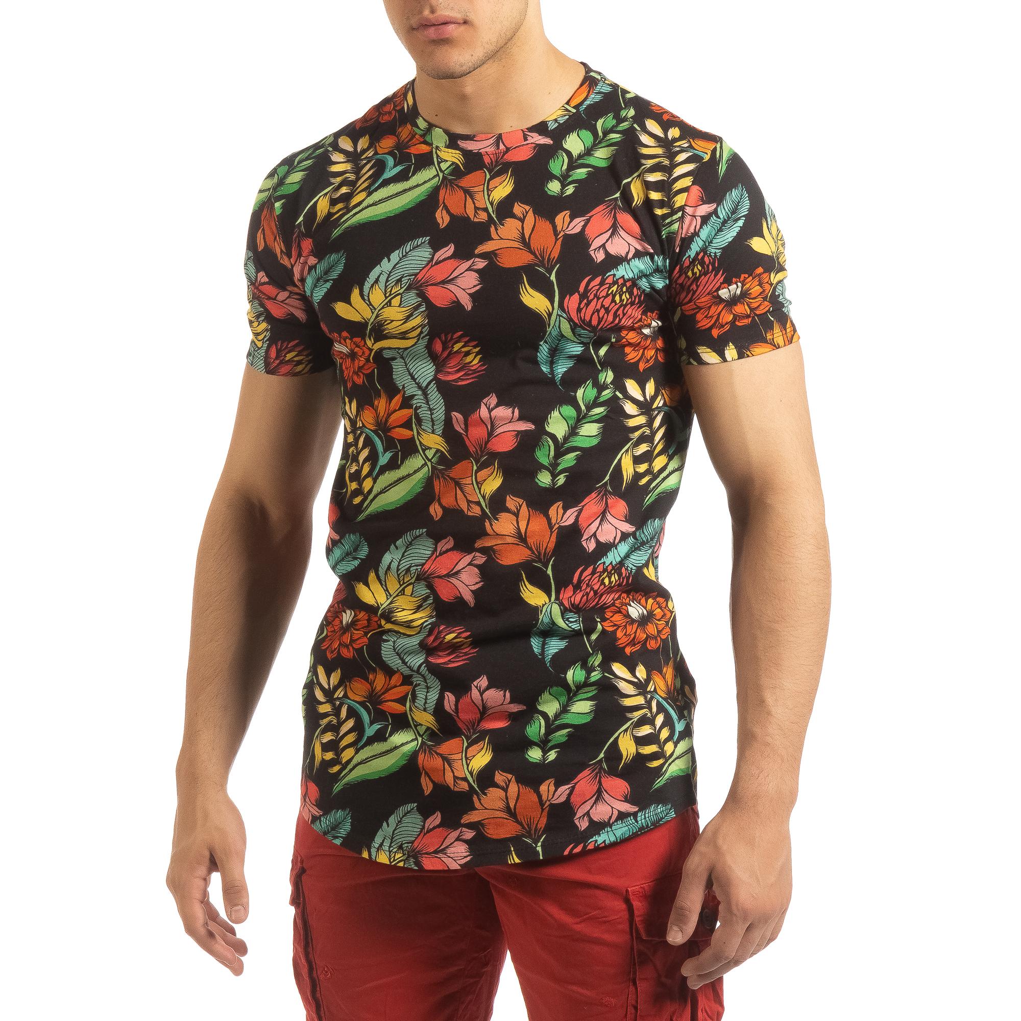 4f6bf4aa74ac Ανδρική πολύχρωμη φλοράλ κοντομάνικη μπλούζα