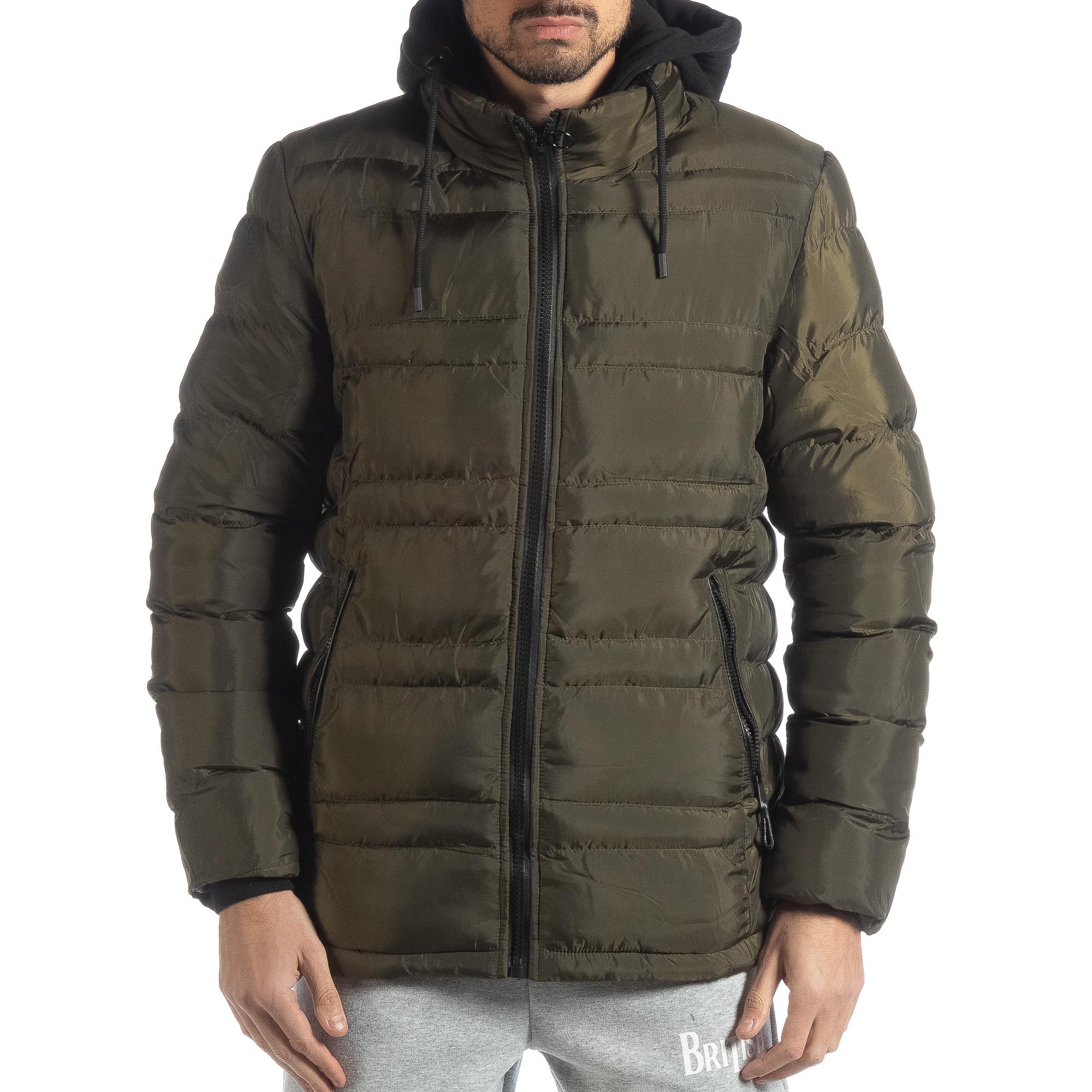 d4e5dccd1cf Ανδρικό χειμερινό μπουφάν με κουκούλα σε χρώμα military