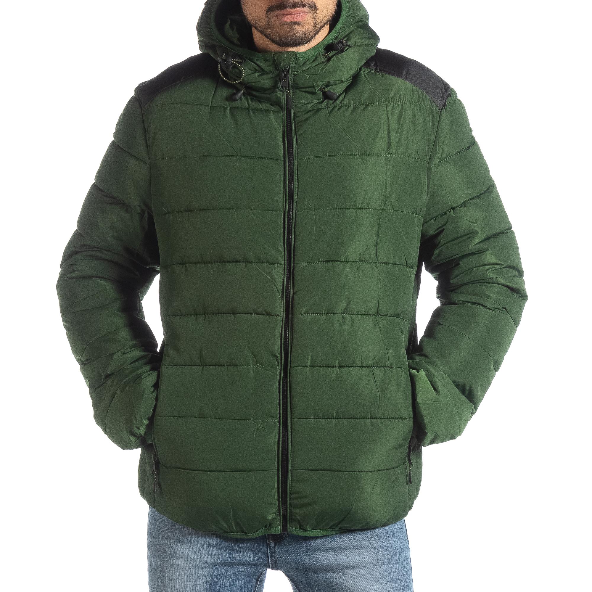 Ανδρικό πράσινο χειμερινό μπουφάν με μαύρες λεπτομέρειες f0c879d2175