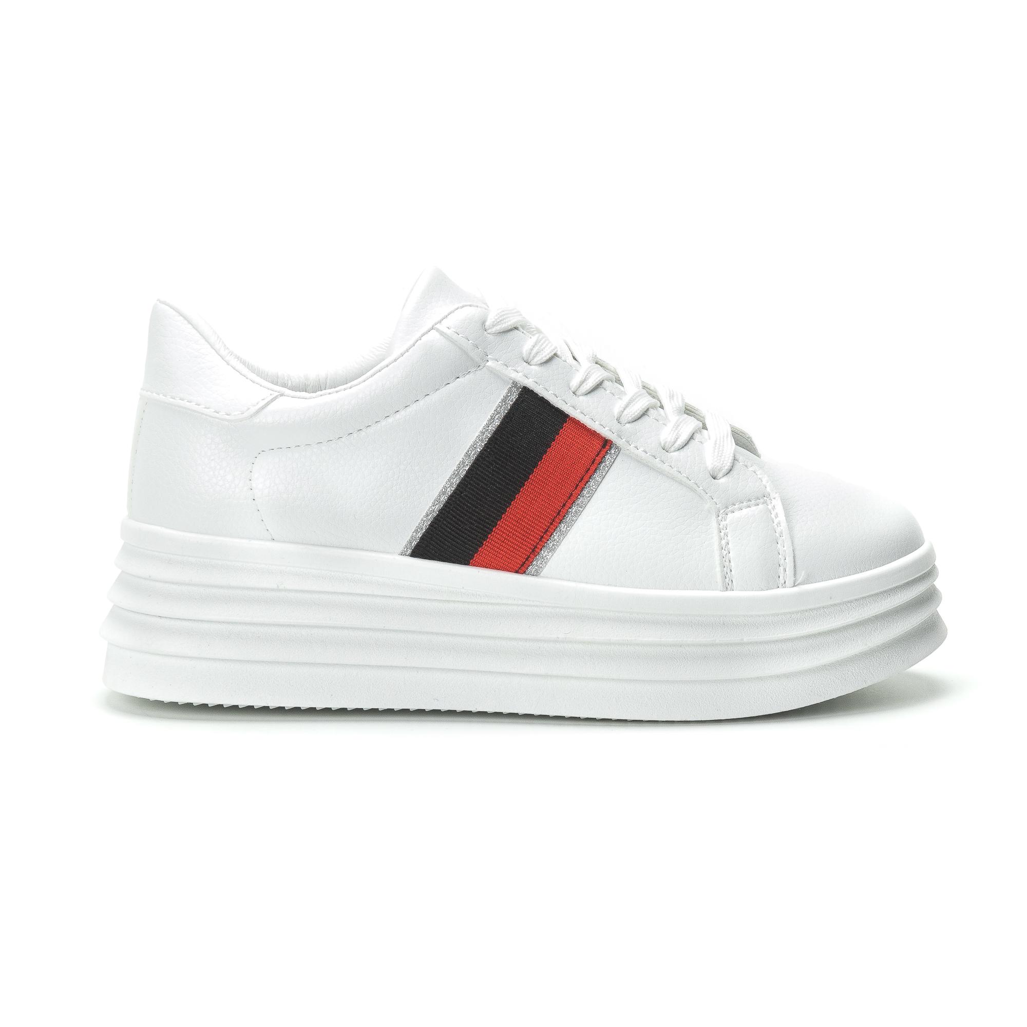 5f9ae7473d0 -20% Fashionmix Γυναικεία λευκά sneakers με διακοσμητική λεπτομέρεια