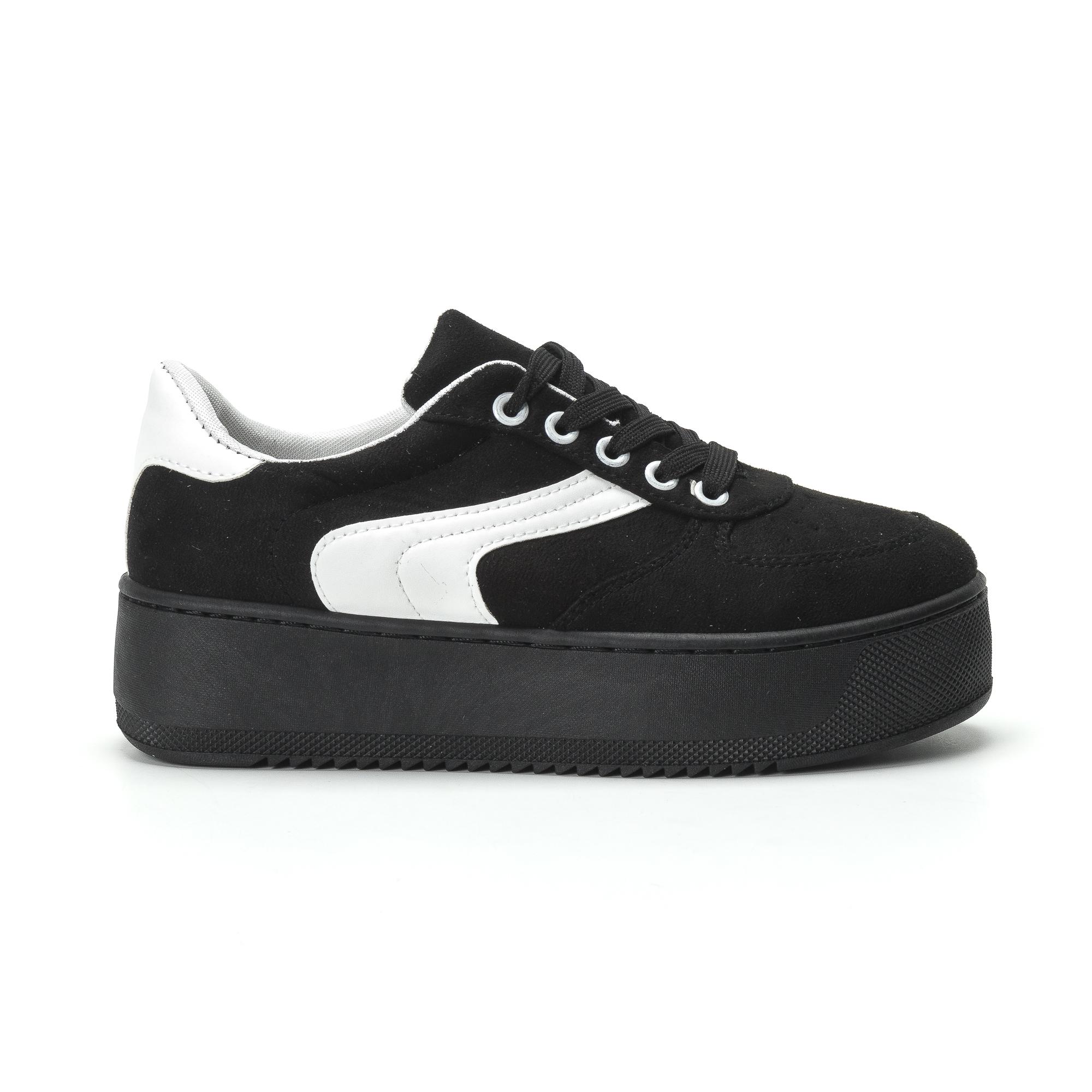 Γυναικεία μαύρα σουέτ sneakers με πλατφόρμα 70115 ⋆ EliteShoes.gr caa362d852f