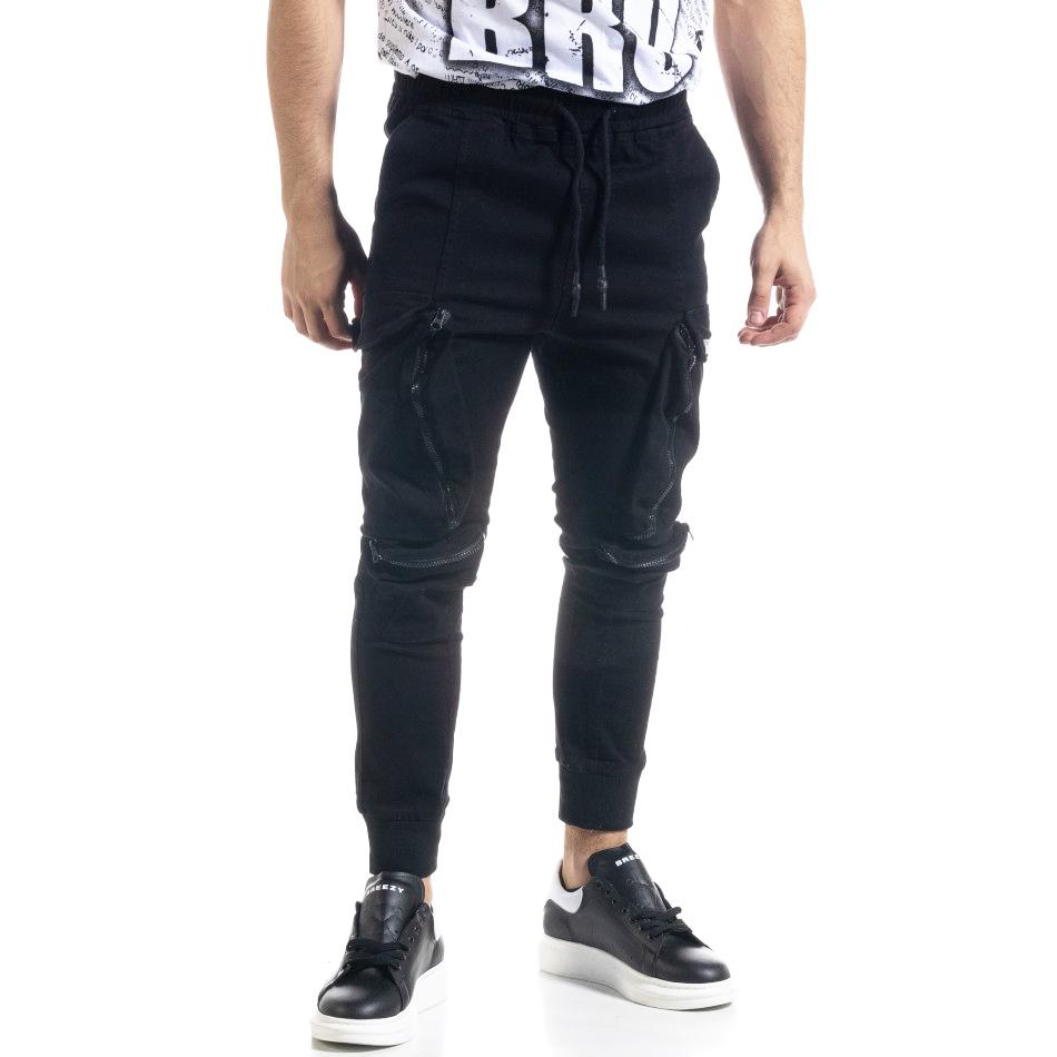 Ανδρικό μαύρο παντελόνι cargo Breezy