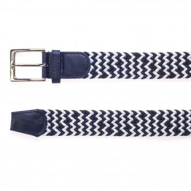 Мъжки плетен колан в синьо и бяло it250915-9 2