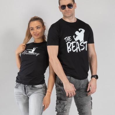 Тениски за двойки Beauty & Beast черни TMN-CP-010 2