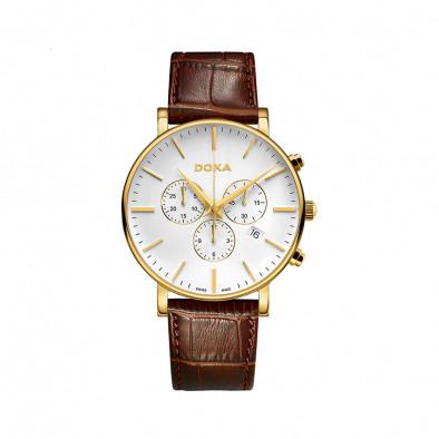 Мъжки часовник DOXA D-Light с жълта позлата на касата