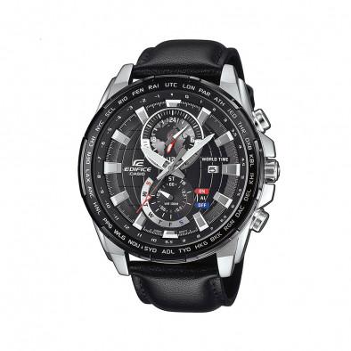 Мъжки часовник Casio Edifice с черен циферблат и черна кожена каишка