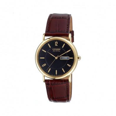 Мъжки часовник Citizen с кафява каишка от естествена кожа