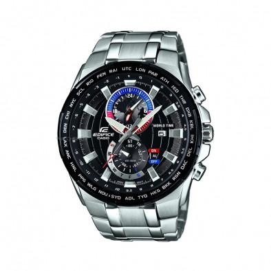 Мъжки часовник Casio Edifice сребрист браслет с кварцов механизъм