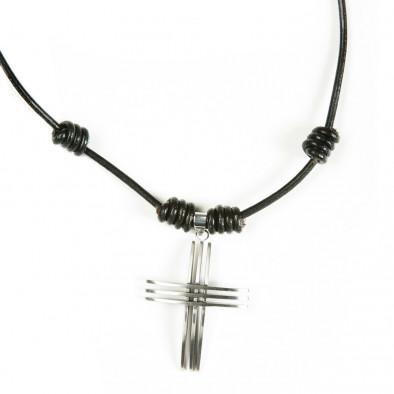 Мъжки кожен гердан с метален кръст UM2209121 2