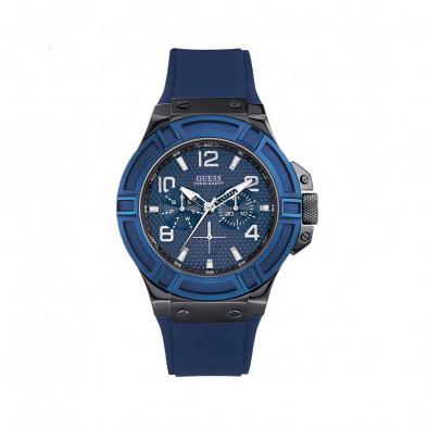 Мъжки часовник Guess  със синя каучукова каишка