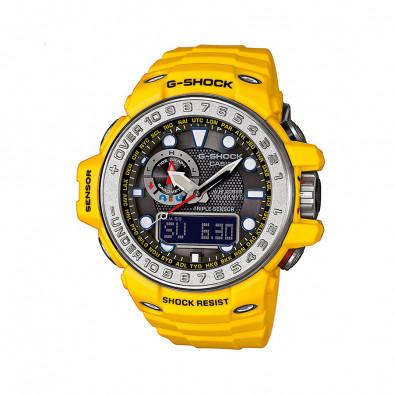 Мъжки спортен часовник Casio G-SHOCK жълт със сребрист ринг на циферблата