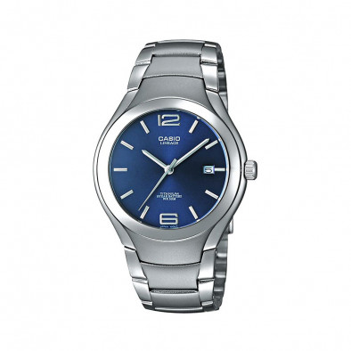 Мъжки часовник Casio Lineage сив с титаниев корпус и син циферблат