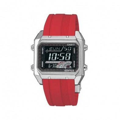 Мъжки часовник Casio Edifice с правоъгълен дисплей и червена каишка