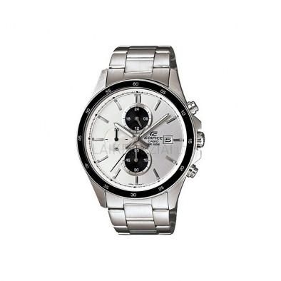 Мъжки часовник Casio Edifice сребрист браслет с бял циферблат
