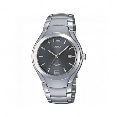 Мъжки часовник Casio Lineage сив с титаниев корпус и черен циферблат