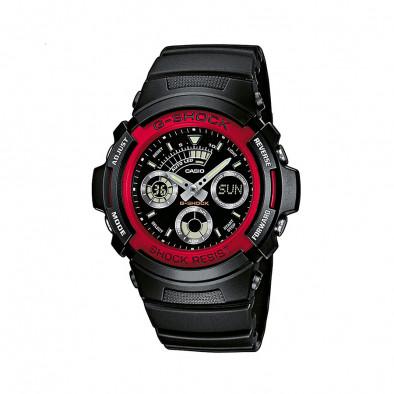 Мъжки спортен часовник Casio G-SHOCK черен с червен ринг на циферблата