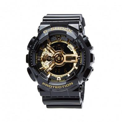 Мъжки спортен часовник Casio G-SHOCK черен със златист циферблат