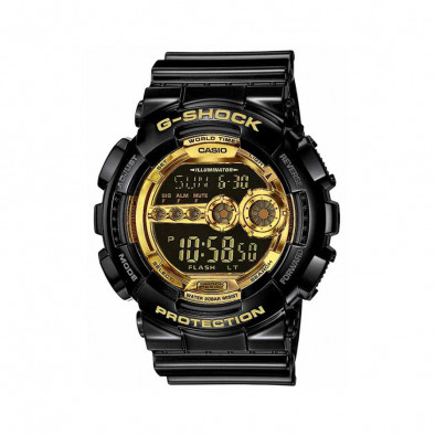 Мъжки спортен часовник Casio G-SHOCK черен със златисти детайли на дисплея