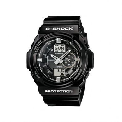 Мъжки спортен часовник Casio G-SHOCK черен със сребристи стрелки