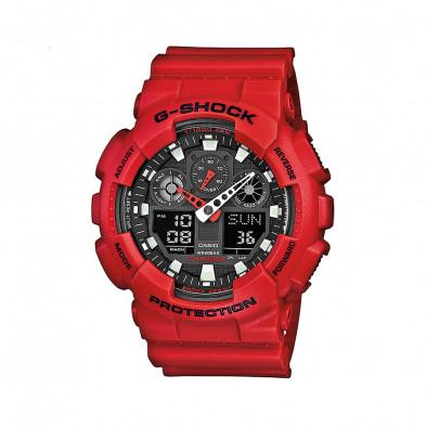Мъжки спортен часовник Casio G-SHOCK червен със сив циферблат