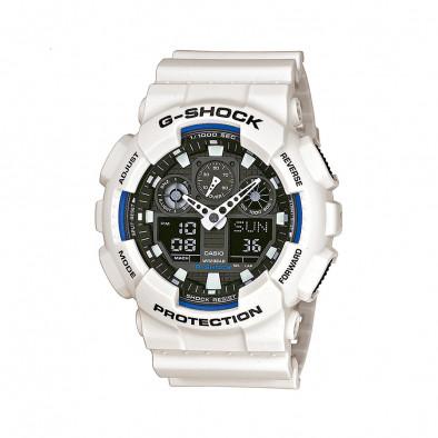 Мъжки спортен часовник Casio G-SHOCK бял с черен циферблат