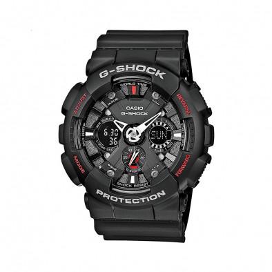 Мъжки спортен часовник Casio G-SHOCK черен с малки червени надписи