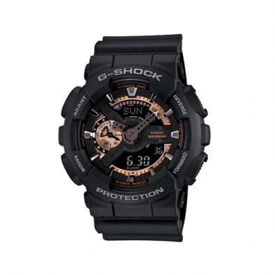 Мъжки спортен часовник Casio G-SHOCK черен със златисти детайли