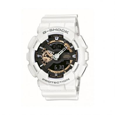 Мъжки спортен часовник Casio G-SHOCK бял със златисти детайли