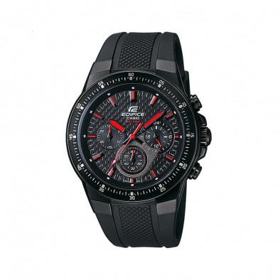 Мъжки часовник Casio Edifice с каучукова каишка в черно и червени детайли на циферблата