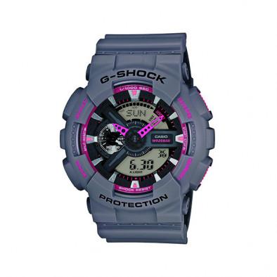 Мъжки спортен часовник Casio G-SHOCK  сив с розови детайли