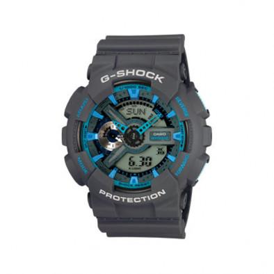 Мъжки спортен часовник Casio G-SHOCK сив със сини елементи