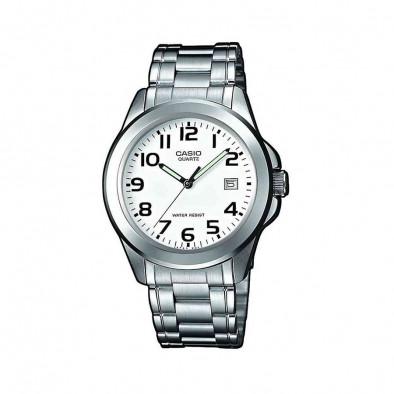 Мъжки часовник Casio Collection сребрист браслет със зелени стрелки