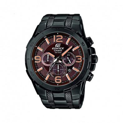 Мъжки часовник Casio Edifice черен браслет с оранжеви стрелки