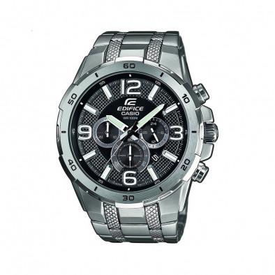 Мъжки часовник Casio Edifice сребрист браслет с бели индекси