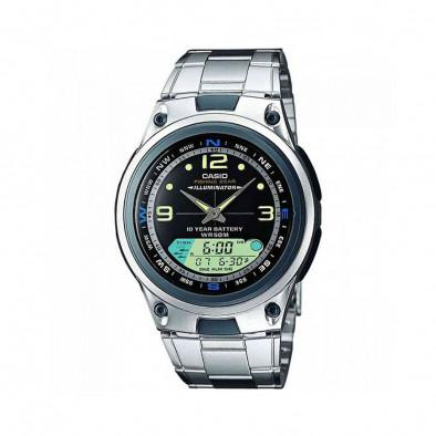 Мъжки часовник Casio Collection сребрист браслет с дисплей за фаза на луната