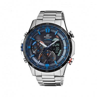Мъжки часовник Casio Edifice сребрист браслет с оранжев бутон и син циферблат