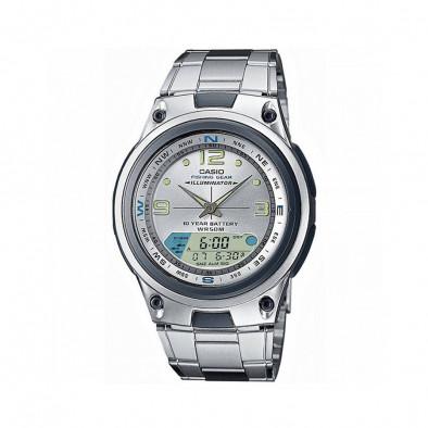Мъжки часовник Casio Collection сребрист браслет с втора часова зона