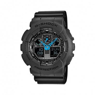 Мъжки спортен часовник Casio G-SHOCK сив със сини стрелки