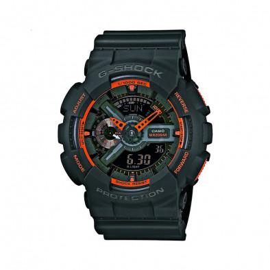 Мъжки спортен часовник Casio G-SHOCK черен с оранжеви детайли и стрелки