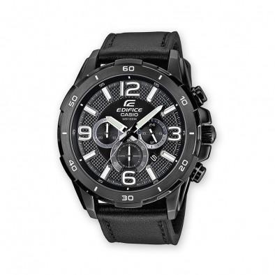 Мъжки часовник Casio Edifice черен с черна кожена каишка
