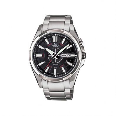 Мъжки часовник Casio Edifice сребрист с червена стрелка за отмерване на секундите