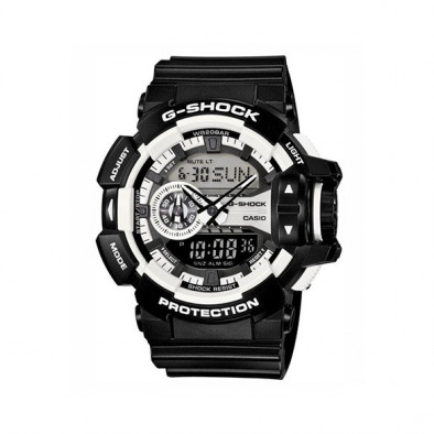 Мъжки спортен часовник Casio G-SHOCK черен с бели детайли