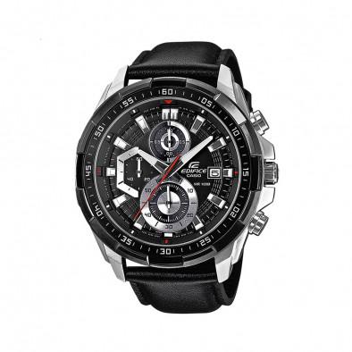 Мъжки часовник Casio Edifice сребристо-черен с каишка от естествена кожа