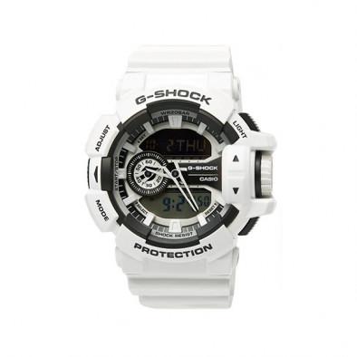 Мъжки спортен часовник Casio G-SHOCK бял със сиви детайли