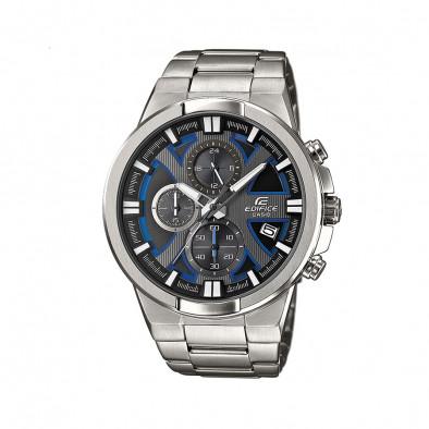 Мъжки часовник Casio Edifice сребрист браслет със сини детайли в циферблата