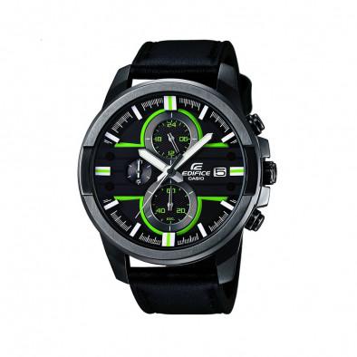 Мъжки часовник Casio Edifice черен с неоново зелени детайли