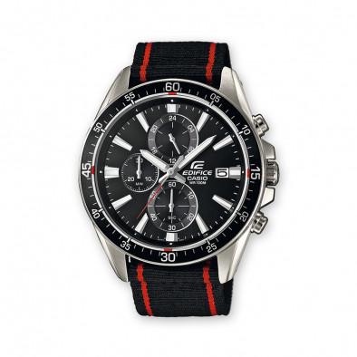 Мъжки часовник Casio Edifice черен с текстилна каишка